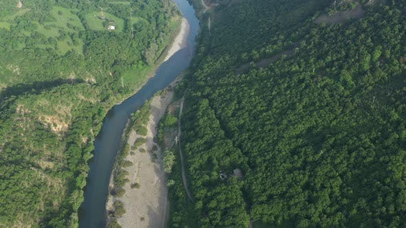 Thumbnail for Flight Over The River Arda Around The City Of Madjarojo In Bulgaria, Europe