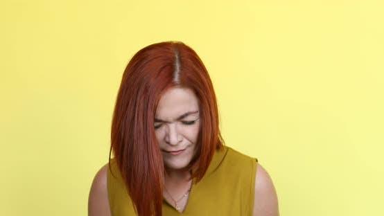 Thumbnail for Beautiful Ginger Woman Screaming and Looking at Camera