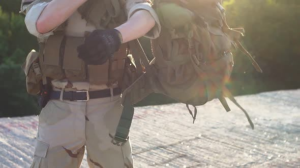 Thumbnail for Airsoft Game. Man in Military Uniform