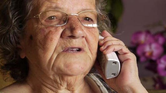 Thumbnail for Very Old Senior Grand Mother Talking On Phone