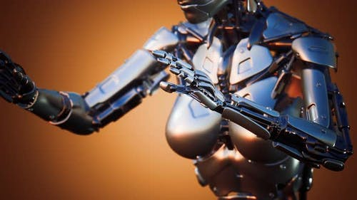 Cyborg Woman with Machine Part of Her Body