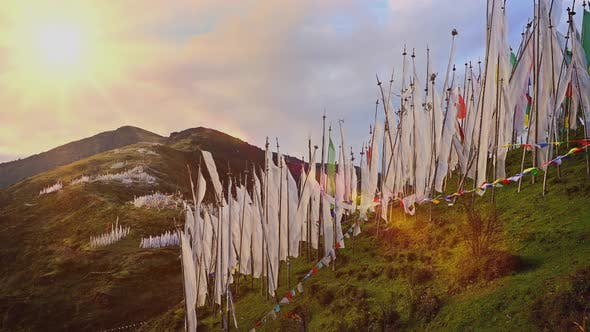 Thumbnail for Buddhist Prayer Flags Blowing In The Wind