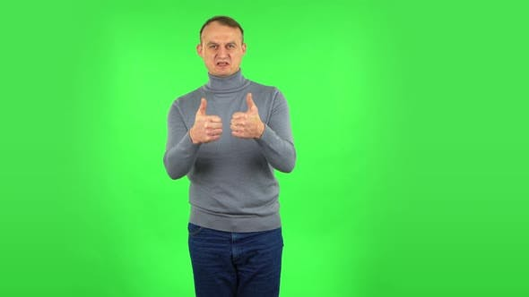 Thumbnail for Male Is Showing Thumbs Up, Gesture Like. Green Screen