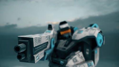 Robot With A Big Gun Shooting 4k
