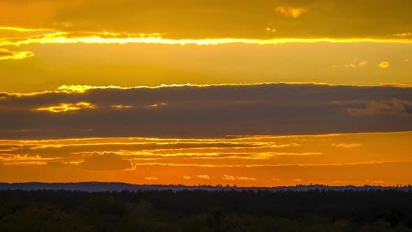 Majestic Timelapse Dramatic Red Sunset Sky Over Horizon