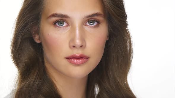 Thumbnail for Natural Female Beauty Close-up with Perfect Curly Hair