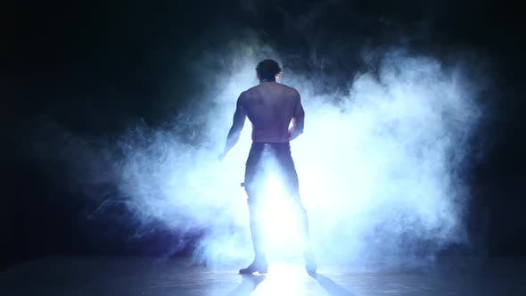Thumbnail for Full Length Silhouette of a Young Man Dancer, Smoke