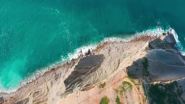Thumbnail for Aerial View Seascape with Waves on Rocky Coast