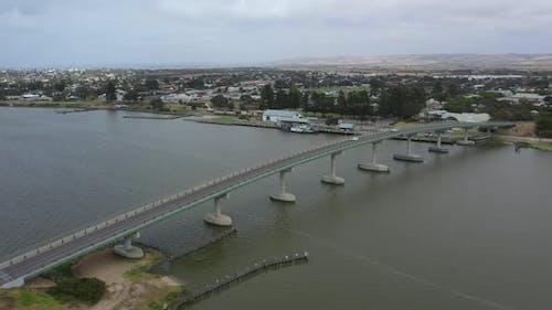 Aerial footage of the Goolwa bridge in regional South Australia