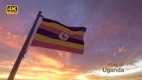 Uganda Flag on a Flagpole V3 - 4K