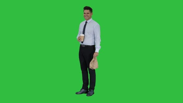 Thumbnail for Businessman with Take Away Coffee Smiling to Camera On