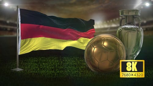 8K Germany Flag With Football and Cup Background Loop