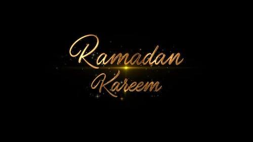 Ramadan Kareem and Eid Mubarak - Golden Greetings Text
