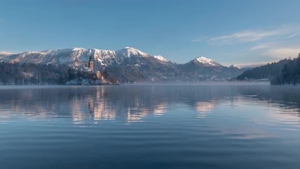 Bled Winter Sunrise Video 30fps 4k Deflicker
