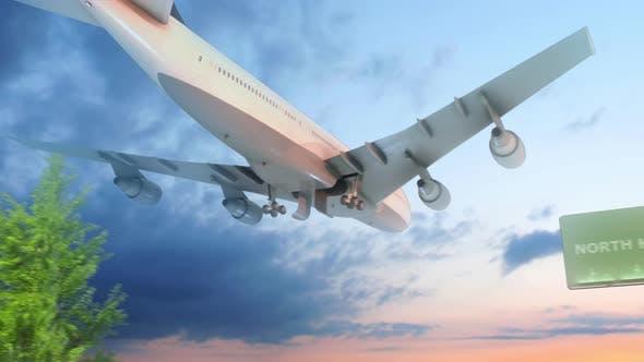 Airplane Arriving To North Korea