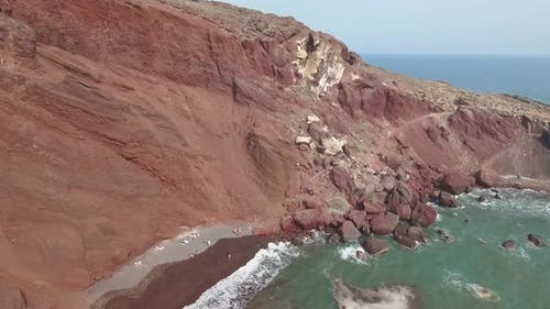 Aerial view of Red Beach on Santorini Island in Greece