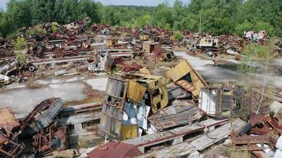 Drone View of Radioactive Scrap Metal in Chernobyl