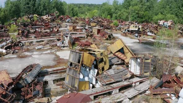 Thumbnail for Drone View of Radioactive Scrap Metal in Chernobyl
