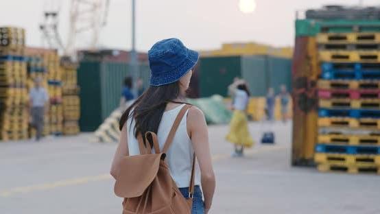 Woman visit the freight terminal in Hong Kong