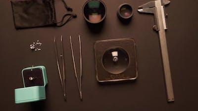 Close Up of Tweezers and Jeweler Tools