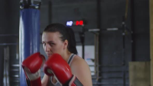 Female Boxer in Gloves Posing for Camera in Gym