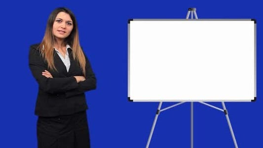 Thumbnail for Blue Screen Business Woman Talk Board