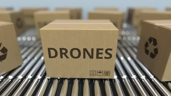 Cartons with Drones on Roller Conveyors