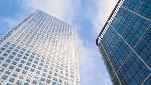 Bottom view of modern multi-storey buildings
