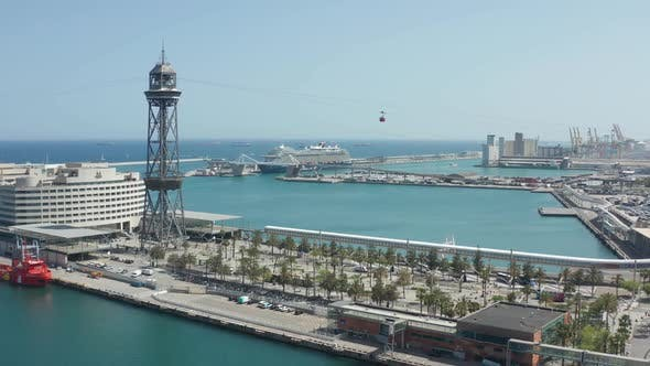 Thumbnail for Drone Shot of Sea Port in Barcelona with Cable Car