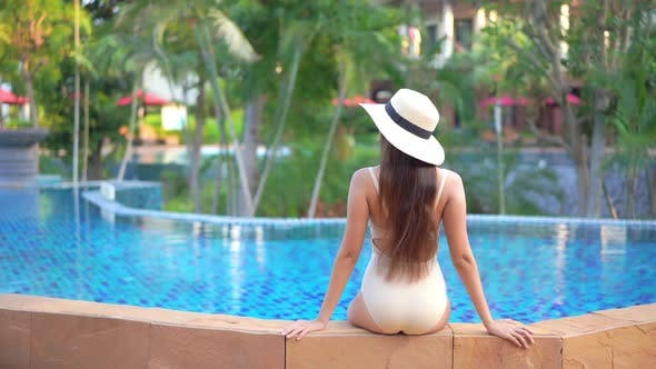 Outdoor swimming pool in hotel resort for vacation