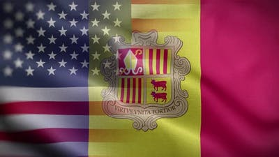 USA Andorra Flag Loop Background 4K