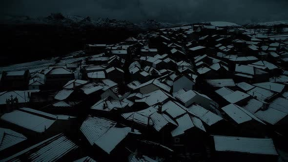 Thumbnail for Night Snow Covered Remote Village in the Mountains