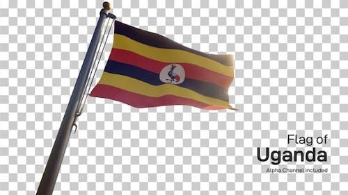 Uganda Flag on a Flagpole with Alpha-Channel