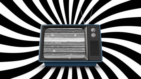 Old television and diagonal lines