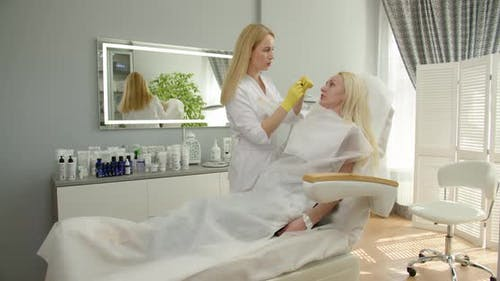 A Cosmetologist Consults A Female Client In A Beauty Clinic.