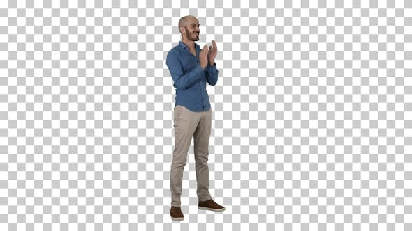 Thumbnail for Handsom Arab Clapping His Hands Applauding, Alpha Channel