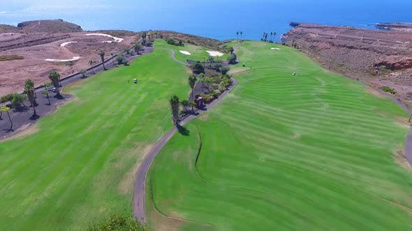 Drone aerial clip over a green golf course / 44 Full Hd