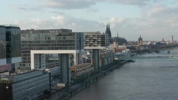 Cover Image for AERIAL: Cologne Futuristic Kranhaus, Crane House Apartments, Office Buildings in Beautiful Sunlight