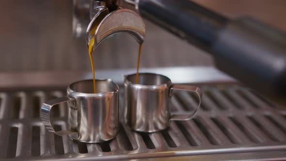 Thumbnail for Close-up of Espresso From Coffee Machine. Professional Barista Coffee Brewing in Coffee Shop.