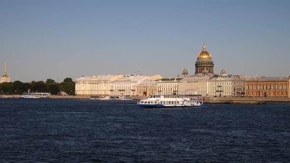 Pleasure Ship Unfolds On The Neva River