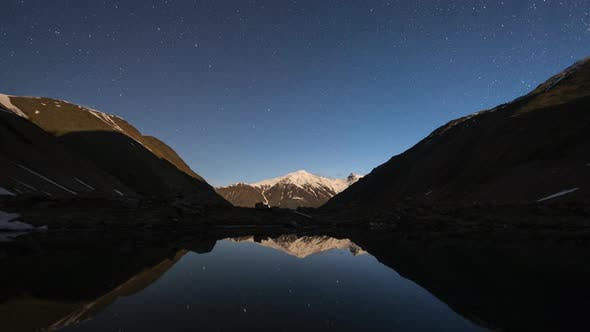 Cover Image for Starry Sky Night and Milky Way Time Lapse Over the Mountain Valley and a Lake