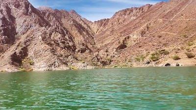 UAE Fujairah Dam Mountains With River Water