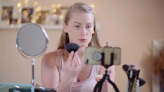 Thumbnail for Female Blogger Makeup Artist Teching Doing Makeup on Line