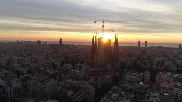 Thumbnail for City Sunset of Barcelona, Spain