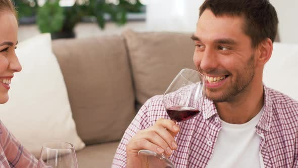 Thumbnail for Happy Couple Drinking Red Wine at Home