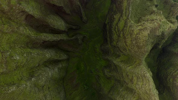 Thumbnail for Amazing Aerial View Over Scenic Ravine of Hawaiian Massif. Unusual Ribbed Slopes Covered with Grass