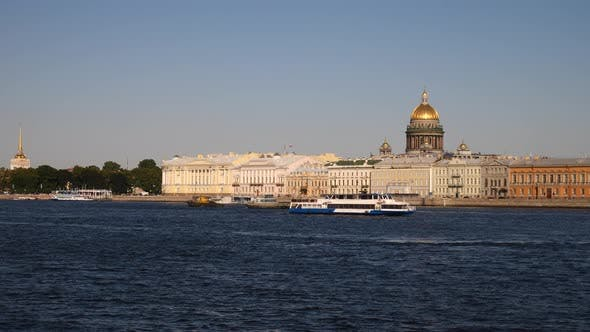 Pleasure Ship And St. Isaac's Cathedral