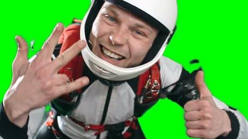 Young Skydiver Emotionally Enjoying Free Fall