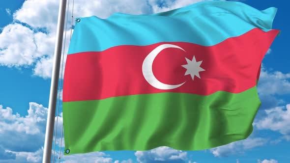 Thumbnail for Fliegende Flagge Aserbaidschans auf dem Hintergrund des Himmels