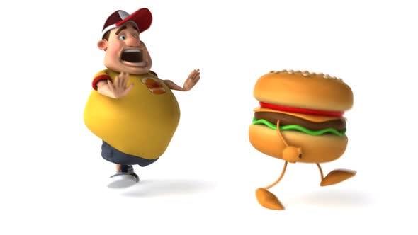 Thumbnail for Big man and hamburger running